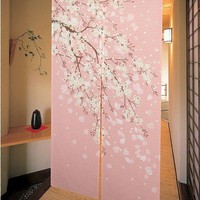 Romantic Oriental Cherry Japanese Noren Doorway Curtain JOY-5901