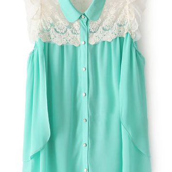 ROMWE Lace Panel Flouncing Asymmetric Blue Shirt