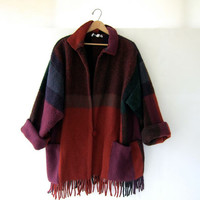 STOREWIDE SALE...vintage oversized wool blanket coat / fringed woven sweater jacket
