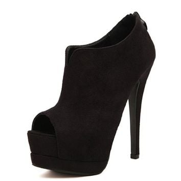 Women's Faux Suede Peep Toe Ankle Boots 040727 DP 0422