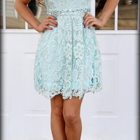 All about Evening lace dress in MINT - Filly Flair