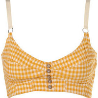 Mustard Crinkle Gingham Bralet - New In - Topshop USA