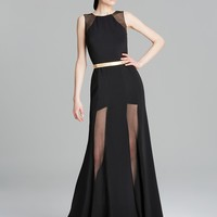 Nicole Bakti Gown - Illusion Front Panels with Belt