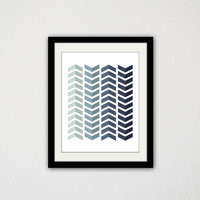 "Geometric Chevron Gradient Poster. Blue and Gray. Tribal. Minimalist. Simple.Home Decor. Art Print. Gift Idea. 8.5x11"" Print."
