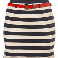 Navy Stripe Belted Bodycon Skirt - Skirts - Topshop USA
