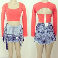 Coral Sweetheart Open Back Crop Top Sizes Small,Medium, or Large