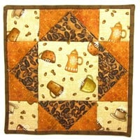 Coffee Time Quilted Hot Pad Kitchen Decor Pot Holder Insulated Trivet