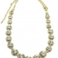 Gold Statement Necklace with Silver diamond detailing