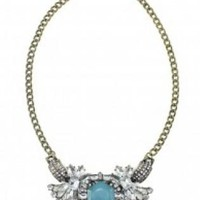 Silver Statement Necklace with teal detailing