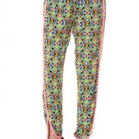 Jersey Print Pants with Ankle-slit Detail