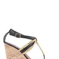 Cork Wedge Heel with Metallic Braided Straps