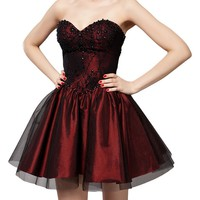 Women's Strapless Diamanted Party Cocktail Short Princess Dress Dark Red