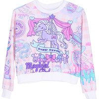 ROMWE Purple Horse Print Long-sleeved Sweatshirt