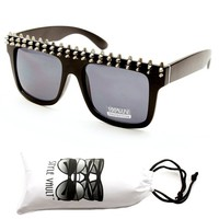 W222-vp Spike Studded Vintage Retro 80s Wayfarer Celebrity Sunglasses