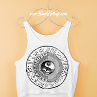 Yin Yang We Live By The Sun Love By The Moon Crop Tank Top