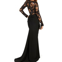 Arlene- Black Long Sleeve Sequined Dress