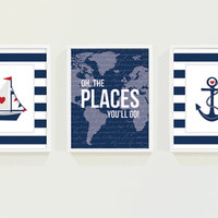 Nautical Nursery Art - Baby Boy Nursery Decor - Oh The Places You'll Go - Nautical Boys Room Art - Navy Blue Stripes Anchor Kids Wall Art