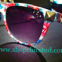 Studded Sunglasses Floral Print by xxSweetStudxx on Etsy