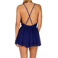 Pre-Order Royal Blue Wrap Front Romper