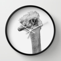 Whats up? - (the ever inquisitive Ostrich) Wall Clock by Bruce Stanfield | Society6