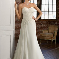 Elegant White A-line Sweetheart Neckline Wedding Dress-SinoSpecial.com