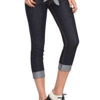 Dark Indigo Denim Capri Pants