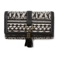 Black and White Tribal Design Trifold Wallet with Tassel | Claire's