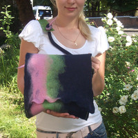 Felted dark bluepink green bag with leather summer by LanaDiNata