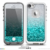 The Tiffany Blue & Silver Glimmer Fade Skin for the iPhone 5-5s frē LifeProof Case - iPhone
