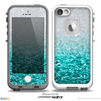 The Tiffany Blue & Silver Glimmer Fade Skin for the iPhone 5-5s, 5c or 4-4s frē LifeProof Case