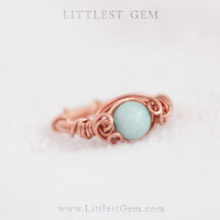 Copper Aqua Jade Ring, wire wrapped jewelry handmade, unique rings, copper ring, custom, boho ring, vintage style