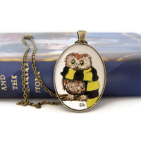 Owl Jewelry Harry Potter Necklace Art Necklace by silverthaw