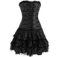 Black Gothic Lace Corset Outfit