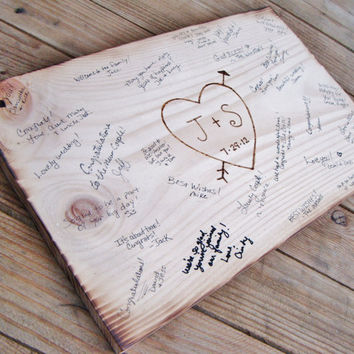Rustic Wedding Guest Book Alternative Sign - wood burned intials, wedding date