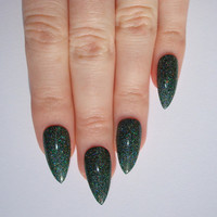 Holographic Green Stiletto nails, Nail designs, Nail art, Nails, Stiletto nails, Acrylic nails, Pointy nails, Fake nails
