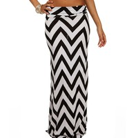 Two Tone Chevron Maxi Skirt