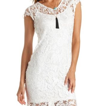 Cap Sleeve Embroidered Lace Dress