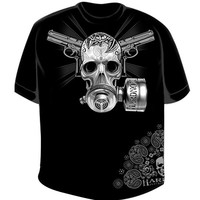 "Men's ""Gas Mask Skull"" Tee by Hardnox Clothing (Black)"
