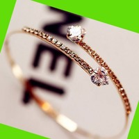 Heart Meets Heart Rhinestone Bangle