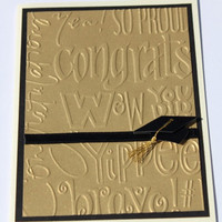 Graduation Card Embossed Gold Black Ivory by RoyalRegards on Etsy