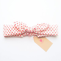 Happy Bunny bow headband knotted love love heart :) love collections by love factory nyc