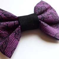 Purple and Black Lace Print Bow Hair Clip - Gothic Lolita Bow - Punk Hair Bow Accesory