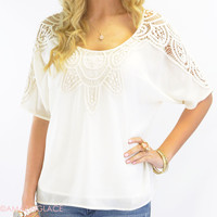 Calloway Crochet Sleeve Cream Top