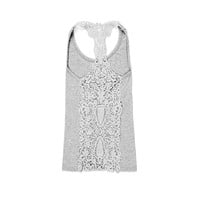 Zacoo Women's Lace Flower Cotton Tank Top