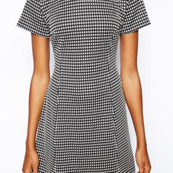 Motel Shift Dress In Check Weave