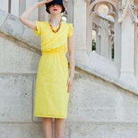 Yellow Cotton Lawn Ruffle Cinched Waist Dress