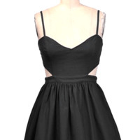 Stay sexy and adorable with the Spring Aurora Cutout Flare Dress. This flirty & flare dress features sweetheart neckline, cutout at waist, adjustable spaghetti straps, back cutout-like-bandeau-top with exposed zipper closure, pleats skirt with built in tut
