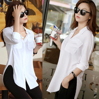 Fashion Women Long Sleeve Chiffon Shirt Turn-down Collar Loose Top Blouse