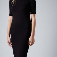 MIDI RIBBED TRIM DRESS