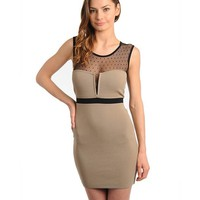 Taupe and Black Sheer Dot Dress